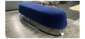 Coach House Designer Seating Bench In Blue Fabric - Ex-Display Showroom Model 47107