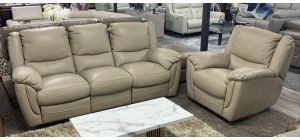 Fedra New Trend 3 + 1 Beige Leather Manual Recliner Sofa Set - Ex-Display Showroom Model 47109