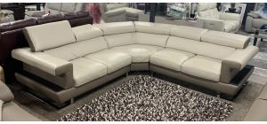 New Trend Luxury Cream Semi-Aniline Leather 2C2 Corner Sofa With Adjustable Headrests - Wooden Detail And Chrome Legs - Ex-Display Showroom Model 47110
