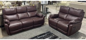 Capri Wine 3 + 2 Leather Manual Recliner Sofa Set