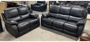 Bentley Dark Grey Bonded Leather 3 Seater Static Sofa With 2 Seater Manual Recliner Sofa - Ex-Display Showroom Model 47116
