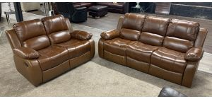 Valencia Tan Bonded Leather 3 + 2 Sofa Set Manual Recliner Ex-Display Showroom Model 47117