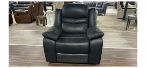 Contour Black Leather Armchair Manual Recliner Ex-Display Showroom Model 47118