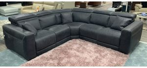 Thelma Dark Grey 2C2 Semi-Aniline Luxury Electric Leather Corner Sofa With Adjustable Headrests - Colours Available Call For Info
