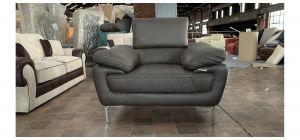 Valencia Brown Leather Armchair With Chrome Legs - 5cm Rip On Front Right Arm (see images) Ex-Display Showroom Model 47125