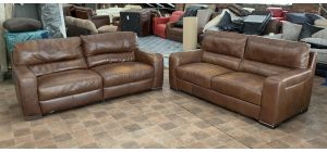 Lucca Brown Leather 4 + 3 Sofa Set Sisi Italia Semi-Aniline Colour Fade (see images) Ex-Display Showroom Model 47129