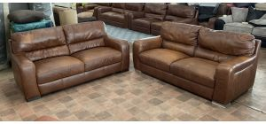 Lucca Brown Leather 3 + 3 Sofa Set Sisi Italia Semi-Aniline Colour Fade (see images) Ex-Display Showroom Model 47130
