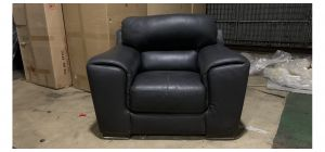 Sisi Italia Semi-Aniline Leather Black Armchair With Wooden Legs Ex-Display Showroom Model 47134