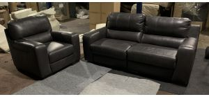 Lucca Dark Grey Leather 3 Seater Electric Recliner Sofa With Static Armchair - Sisi Italia Semi-Aniline - Ex-Display Showroom Model 47136