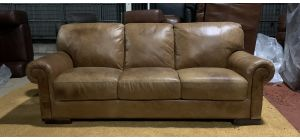 Tan Scroll Arm Aniline Leather Large Sofa With Wooden Legs - Few Scuffs (see images) Ex-Display Showroom Model 47143