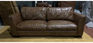 Brown Sisi Italia Semi-Aniline Leather Large Sofa With Wooden Legs Ex-Display Showroom Model 47144