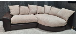 Elise Brown And Beige Jumbo Cord RHF Fabric Corner Sofa With Scatter Back Ex-Display Showroom Model 47146