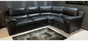 Majori Black RHF Leather Corner Sofa Sisi Italia Semi-Aniline Ex-Display Showroom Model 47155