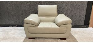 Valencia Cream Leather Armchair With Adjustable Headrest And Wooden Legs - Few Seam Scuffs (see images) Ex-Display Showroom Model 47160