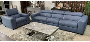 City Light Blue Marinelli 4 + 1 Semi Aniline Electric Recliners With Electric Headrests And Wooden Legs Ex-Display Showroom Model 47318