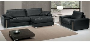 Alterego Black RHF Leather Chaise And Armchair With Chrome Legs Newtrend Available In A Range Of Leathers And Colours 10 Yr Frame 10 Yr Pocket Sprung 5 Yr Foam Warranty
