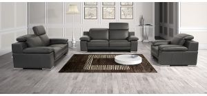 Evergreen Black Leather 3 + 2 + 1 Sofa Set With Adjustable Headrests And Chrome Legs Newtrend Available In A Range Of Leathers And Colours 10 Yr Frame 10 Yr Pocket Sprung 5 Yr Foam Warranty