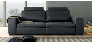 Panther Black 3 + 2 Contrast Stitch Leather Sofas With Headrests And Adjustable Seats Newtrend Available In A Range Of Leathers And Colours 10 Yr Frame 10 Yr Pocket Sprung 5 Yr Foam Warranty