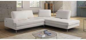Voyager White RHF Leather Corner With Adjustable Seating And Chrome Legs Newtrend Available In A Range Of Leathers And Colours 10 Yr Frame 10 Yr Pocket Sprung 5 Yr Foam Warranty