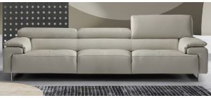 Wish Light Grey Leather 3 + 2 Sofa Set With Adjustable Headrests And Chrome Legs Newtrend Available In A Range Of Leathers And Colours 10 Yr Frame 10 Yr Pocket Sprung 5 Yr Foam Warranty