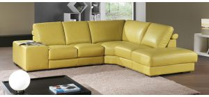 Arrone Yellow RHF Leather Corner Sofa With Wooden Legs Newtrend Available In A Range Of Leathers And Colours 10 Yr Frame 10 Yr Pocket Sprung 5 Yr Foam Warranty