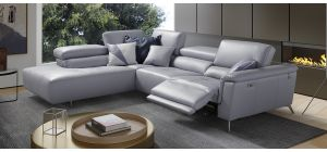 Birdy Lilac LHF Semi-Aniline Leather Electric Corner With Adjustable Headrests And Chrome Legs Newtrend Available In A Range Of Leathers And Colours 10 Yr Frame 10 Yr Pocket Sprung 5 Yr Foam Warranty