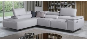 Blossom Grey LHF Leather Corner Sofa Electric Recliner With Chrome Legs Newtrend Available In A Range Of Leathers And Colours 10 Yr Frame 10 Yr Pocket Sprung 5 Yr Foam Warranty