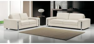 Eghoiste Ivory Leather 3 + 2 Sofa Set With Chrome Legs Newtrend Available In A Range Of Leathers And Colours 10 Yr Frame 10 Yr Pocket Sprung 5 Yr Foam Warranty