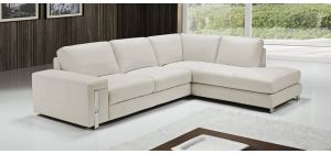 Eghoiste Ivory RHF Leather Corner Sofa With Chrome Legs Newtrend Available In A Range Of Leathers And Colours 10 Yr Frame 10 Yr Pocket Sprung 5 Yr Foam Warranty