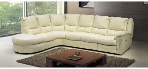 Fedra Cream LHF Leather Corner Sofa Electric Recliner Newtrend Available In A Range Of Leathers And Colours 10 Yr Frame 10 Yr Pocket Sprung 5 Yr Foam Warranty