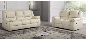 Lewis Cream Semi-Aniline Leather 3 + 2 Sofa Set Electric Recliners Newtrend Available In A Range Of Leathers And Colours 10 Yr Frame 10 Yr Pocket Sprung 5 Yr Foam Warranty
