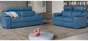 Mia Blue Leather 3 + 2 Electric Recliners With Adjustable Headrests And Wooden Legs Newtrend Available In A Range Of Leathers And Colours 10 Yr Frame 10 Yr Pocket Sprung 5 Yr Foam Warranty