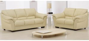 Nicole Cream Leather 3 + 2 Sofa Set With Wooden Legs Newtrend Available In A Range Of Leathers And Colours 10 Yr Frame 10 Yr Pocket Sprung 5 Yr Foam Warranty
