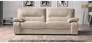 Prestige Cream Static Semi-Aniline Leather 3 + 2 Sofa Set With Wooden Legs Newtrend Available In A Range Of Leathers And Colours 10 Yr Frame 10 Yr Pocket Sprung 5 Yr Foam Warranty
