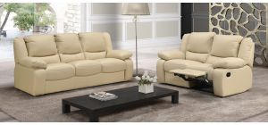 Virginia Cream Semi-Aniline Leather 3 + 2 Electric Recliners Newtrend Available In A Range Of Leathers And Colours 10 Yr Frame 10 Yr Pocket Sprung 5 Yr Foam Warranty