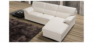Zafferano White Semi-Aniline Leather RHF Corner Chaise With Wooden Legs Newtrend Available In A Range Of Leathers And Colours 10 Yr Frame 10 Yr Pocket Sprung 5 Yr Foam Warranty