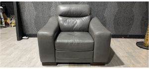 Venezia Grey Leather Armchair Sisi Italia Semi-Aniline With Wooden Legs - Few Scuffs (see images) Ex-Display Showroom Model 47329