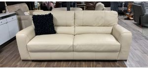 Lucca Cream Large 4 Seater Leather Sofa Sisi Italia Semi-Aniline With Wooden Legs Ex-Display Showroom Model 47342