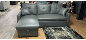 Boxer Grey LHF Bonded Leather Sofa Bed Chaise Sofa