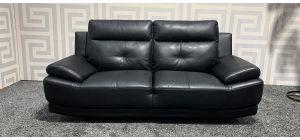 Black Bonded Leather Large Sofa Ex-Display Showroom Model 47360
