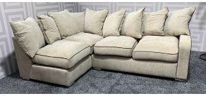 Hula Cream LHF Fabric Corner Sofa With Scatter Back And Chrome Legs Ex-Display Showroom Model 47370