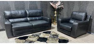Lucca Black Leather 3 Seater Static Sofa With Electric Recliner Armchair Sisi Italia Semi-Aniline With Wooden Legs Ex-Display Showroom Model 47400