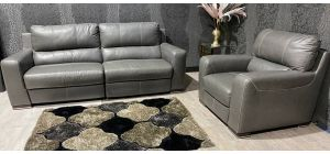 Lucca Grey Leather 4 Seater Electric Recliner With Static Armchair Sisi Italia Semi-Aniline With Wooden Legs Ex-Display Showroom Model 47401