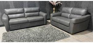 Capri Grey Leather 3 + 2 Sofa Set Sisi Italia Semi-Aniline With Wooden Legs Ex-Display Showroom Model 47403