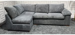 Riva Grey LHF Fabric Corner Sofa Bed - Bed Dimensions(180cm x 115cm) - Slight Rock Left Hand Section - Left Top Cushion Mismatch (see images) Ex-Display Showroom Model 47416