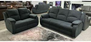 Florida Dark Green Fabric 3 + 2 Sofa Set Manual Recliner