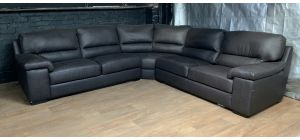 Napoli Brown 2C2 Leather Corner Sofa With Wooden Legs - Few Scuffs (see images) Ex-Display Showroom Model 47425