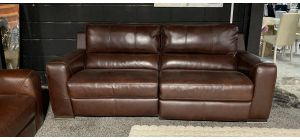 Lucca Ox-Blood 4 Seater Leather Sofa Electric Recliner Sisi Italia Semi-Aniline With Wooden Legs Ex-Display Showroom Model 47428
