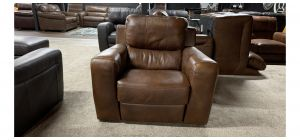 Lucca Brown Leather Armchair Electric Recliner Sisi Italia Semi-Aniline With Wooden Legs - Slight Colour Fade (see images) Ex-Display Showroom Model 47430