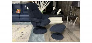Dubai Blue Accent Fabric Armchair With Wooden Legs And Footstool Available In A Range Of Colours - Call For More Info